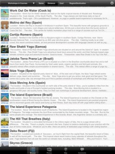 Screen shot main list. iPad 225x300 Yoga Holidays Worldwide