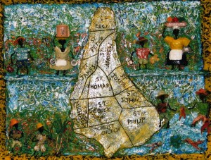 "Shades Of Barbados II – 16""x20"" – (1995-2008), acrylic, wire & mixed media on wood"
