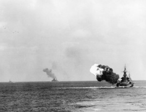 Okinawa six projectiles in air 300x230 February Programming Aboard the Battleship NORTH CAROLINA
