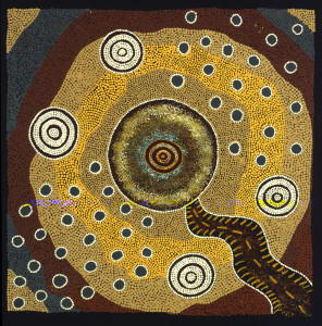 Fly Dreaming Jane Gordon Painted in 2002 by Jane Gordon Fly Dreaming takes a more mystical approach to the story of the crater impact. In one corner the Rain 296x300 Aboriginal Dreamtime Stories Become Paintings in Myrtle Beach Art Museum Exhibit