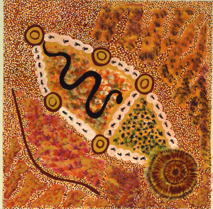 Kandimalal Katie Darkie Painted in 2002 by Katie Darkie Kandimalal their ancestral name for the crater shows the Rainbow Serpent traveling among ancestral w 300x294 Aboriginal Dreamtime Stories Become Paintings in Myrtle Beach Art Museum Exhibit