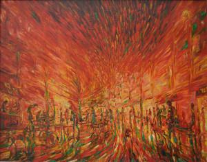 Arquímides Lores Echeverría (Nelo), The City That Escapes, 2010, oil on canvas