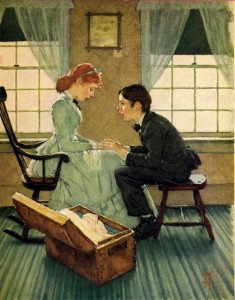 Huck Talks to Mary Jane, lithograph 1940, Easton Press, Copyright MBI, INC., Norman Rockwell Museum Collectrions