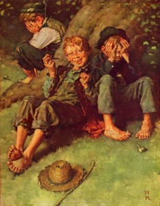 Huck Teaching Tom and Joe to Smoke, collotype 1936, Easton Press, copyright MBI, INC. Norman Rockwell Museum Collections