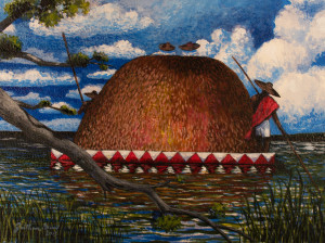 Jonathan Green. Loaded Rice Barge. 2013. acrylic. 11 x 14 inches. collection of Johnny and Kaye Wallace