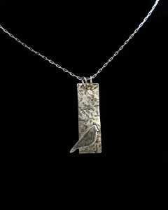 Sterling necklace with hammered Bird In Tree design by Janette Franich