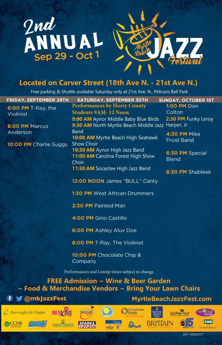 For More Information About The Second Annual Jazz Festival Call 843 340 2018 Or 301 537 4362 Visit Http Myrtlebeachjazzfest